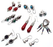 Sale 9046 - Lot 326 - EIGHT PAIRS OF STONE SET EARRINGS; pendeloque glass drops, 45mm, hardstone fringe drops, 45mm, cabochon garnet moonstone and chrysop...