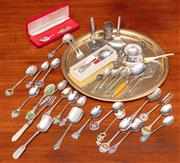 Sale 9058H - Lot 16 - A group of mainly EPNS spoons including royal souvenier, plus sundry utensils, cake slice, pickle fork etc