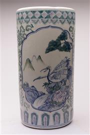 Sale 9070 - Lot 100 - A Chinese Blue and White Ceramic Stick Stand (H 46cm Dia 24cm)
