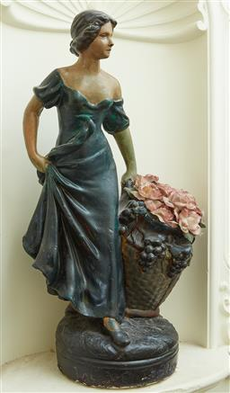 Sale 9103M - Lot 594 - A painted plaster model of a flower lady. Height 57cm