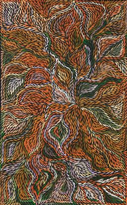 Sale 9128A - Lot 5099 - Jeannie Petyarre (1951 - ) - Bush Yam Flower 155 x 96 cm (stretched and ready to hang)