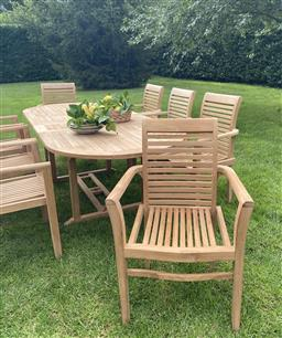 Sale 9135H - Lot 52 - A set of eight teak arm chairs. 95cm Height x  64cm Width (Arm To Arm)
