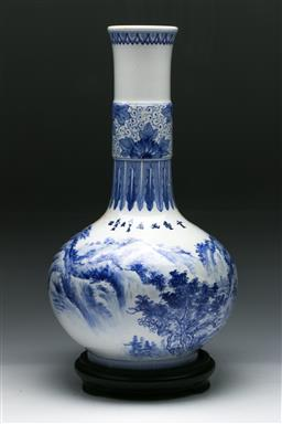 Sale 9144 - Lot 233 - Blue and white Chinese vase featuring a landscape scene (H:40cm)