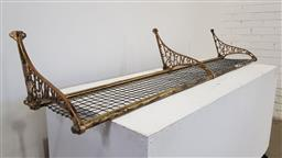 Sale 9162 - Lot 1046 - NSWGR Style Brass Double Luggage Rack, with monogram & mesh panels (w:174 xd:30cm)