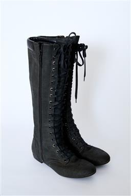 Sale 9095F - Lot 30 - A pair of Gillespie charcoal canvas and soft leather lace up knee high boots, size 38.5.