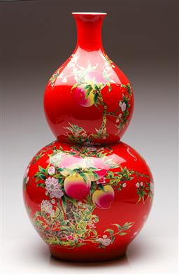 Sale 9253 - Lot 408 - Large Chinese red ground Nine Peaches double gourd shaped vase with gilt highlights (H:63cm)