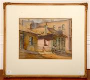 Sale 8107B - Lot 11 - Winifred Betts, Old Dalley St, The Rocks, work on paper, 27 x 34cm, signed lower left