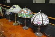 Sale 8138 - Lot 904 - Collection of 4 Art Glass Shade Table Lamps