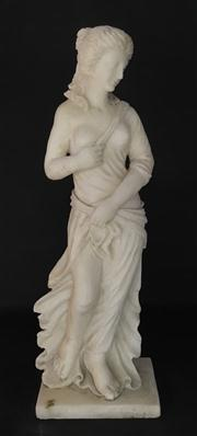 Sale 8706A - Lot 21 - A carved marble Venus statue, looking left H 66 x W 22cm