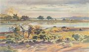 Sale 8891 - Lot 2080 - Clive Stoward (1909 - 1969) - Stubble Fire beyond the Murray 56.5 x 94.5 cm