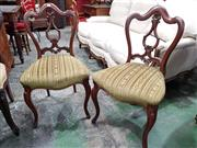 Sale 8993 - Lot 1016 - Set of Four Victorian Walnut Chairs, the shaped backs with lyre style splat, cut-moquette velvet seats & cabriole legs (H:88 x W:47...