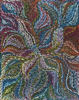 Sale 9170 - Lot 532 - ROSEMARY (PITJARA) PETYARRE (c1965 - ) Yam Leaf Dreaming acrylic on canvas 120 x 95 cm (stretched and ready to hang) signed verso; c...