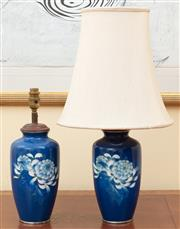 Sale 9055H - Lot 45 - A pair of cloisonne enamel floral decorated blue baluster lamps. One missing shade. H:36cm. (with shade H:58cm)