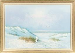 Sale 9099 - Lot 102 - W Brian Young Girl on a Sand Dune Gazing Out to Sea Oil on canvas 60.5 x 90.5cm