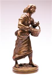 Sale 9081 - Lot 22 - After Rancoulet Bronze Figural Study Of A Girl With Basket H: 38cm