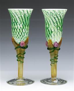 Sale 9093 - Lot 30 - Pair of Colin Heaney Australian Art Glass Champagne Flutes, Signed and Dated to Base, 1996 (H23cm)