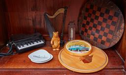 Sale 9103H - Lot 36 - A shelf lot of wares including timber trays, a piano form telephone etc.