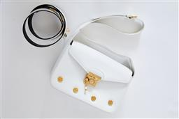 Sale 9095F - Lot 70 - A vintage Ferragamo white leather shoulder bag with gold hardware, Width 25cm, together with a matching white leather belt, size 90.