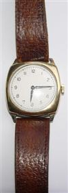 Sale 7617 - Lot 70 - A GENTS 9CT GOLD VINTAGE WRIST WATCH;