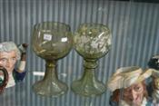 Sale 7874 - Lot 22 - Matched Pair of Oversized Glass Goblets Decorated with Vine Leaves (43)