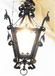 Sale 8256A - Lot 62 - A large antique 19th century French wrought iron gas lantern. Recently wired for electricity. New glass fitted. Overall size: 80 x 4...