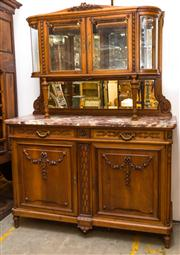 Sale 8287A - Lot 42 - A superb 19th Century Henri II showcase with original rouge marble top & curved glass, sensational styling cues from the Art Nouveau...