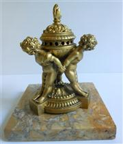 Sale 8362A - Lot 85 - An antique French gilt metal and marble cherub  potpourri / incense burner, overall ht: 19 cm