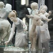Sale 8369 - Lot 4 - Lladro Figural Group of a Mother, Ass & Baby with Another of a Girl Picking Flowers (restored) -