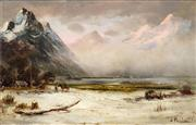 Sale 8538 - Lot 536 - James Peele (1847 - 1905) - Sunrise Bealey Valley, 1897 29.5 x 49.5cm