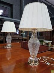 Sale 8634 - Lot 1058 - Pair of Cut Crystal Table Lamps, with gold plated bases & fabric shades