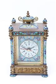 Sale 8739 - Lot 95 - A Modern Brass and Closoinne Chinese Mantle Clock