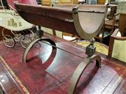 Sale 8740 - Lot 1370 - Brass Magazine Rack with Leather Upholstery