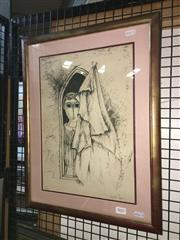 Sale 8779 - Lot 2077 - Joel Bergner - Figure by Window lithograph ed32/150, 41 x 53cm (frame) signed -