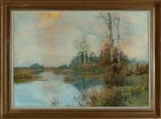 Sale 8818A - Lot 54 - Henry Tebbitt, Pastoral Study, watercolour on paper, foxing and damage to top left, 52 x 76cm, SLR