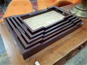 Sale 8863 - Lot 1097 - Collection of Five Cane & Timber Trays
