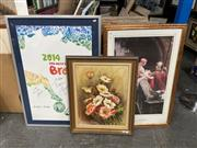 Sale 9028 - Lot 2088 - A group of assorted artworks including original still life oil paintings, still life watercolour and pair of reproduction Sioux Warr...