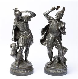 Sale 9135H - Lot 132 - A finely cast pair of spelter antique French statues, each 45cm Height