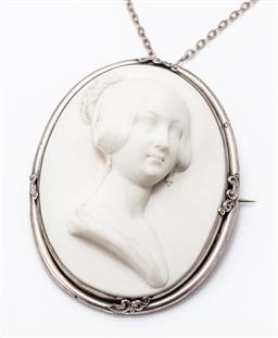 Sale 9180E - Lot 29 - A Victorian silver bound hollow cast Parian ware oversized brooch on silver chain, brooch Length 8.5cm