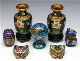 Sale 9144 - Lot 291 - Collection of cloisonne ware inc small vases (H:16cm) butterfly pill boxes (L:4cm) and a lidded example (H:11cm) together with others
