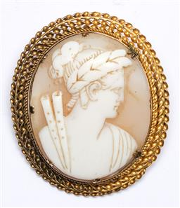 Sale 9156 - Lot 203 - A Victorian Cameo shell with rolled gold frame 4cm x 4.5cm wt: 12g