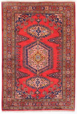 Sale 9181C - Lot 45 - Traditional coral and sky blue tone geometrical design Persian densely woven village rug 310 x 210cm