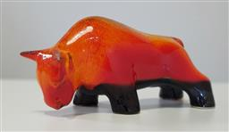 Sale 9188 - Lot 1136 - Vintage glazed ceramic bull by Ellis, repair to horns and no makers mark  (h:16 x w:31cm)
