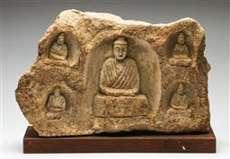 Sale 9192 - Lot 71 - Large Chinese Stone Relief Carving (H:38cm W:52.5cm)