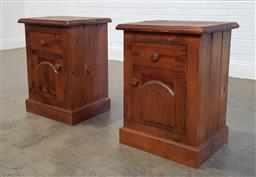 Sale 9218 - Lot 1038 - Pair of single drawer & door bedside cabinets (h80 x w60 x d45cm)
