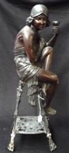 Sale 7746 - Lot 64 - French Art Deco Spelter Figure of Semi Clothed Flapper