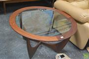 Sale 8275 - Lot 1035 - Circular G-Plan Teak Atmos Coffee Table w/glass top