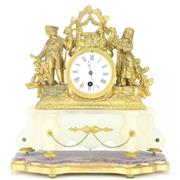 Sale 8264 - Lot 50 - French Gilded Brass Mantle Clock