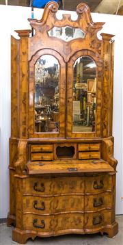Sale 8287A - Lot 43 - A rare 18th Century Italian serpentine front marquetry Secretaire. All original including lined drawers & glass, 244cm tall x 126cm...