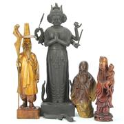 Sale 8304A - Lot 75 - Deity Figure with Other Timber Carved Figures (Some Losses)