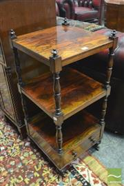 Sale 8335 - Lot 1034 - George IV Rosewood Whatnot, of small proportions, with three tiers on turned supports & drawer